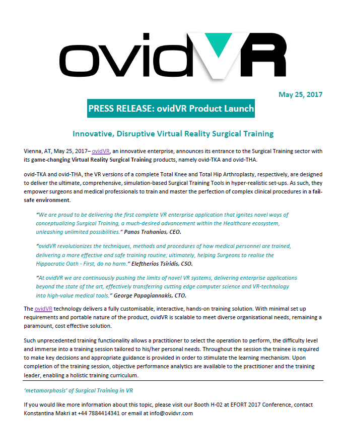 simple press release template - press release ovidvr product launch oramavr